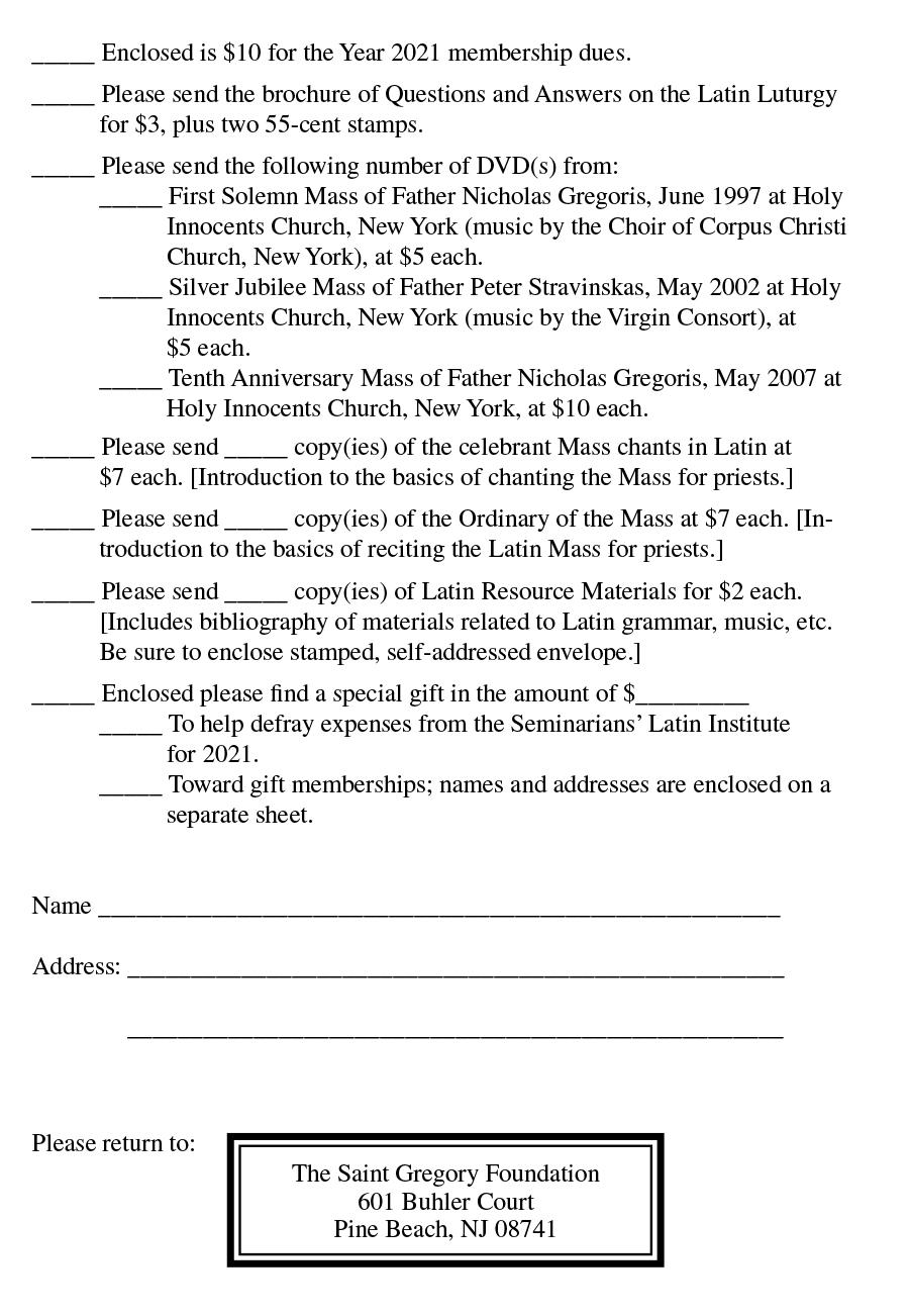 St Gregory Foundation Order Form